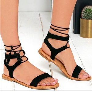 Lulus Black Suede Tie Sandals